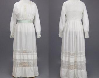 1900s Dress, Antique White Cotton Lace Lingerie Dress, Large Edwardian Dress, Alexander Kornhauser & Co
