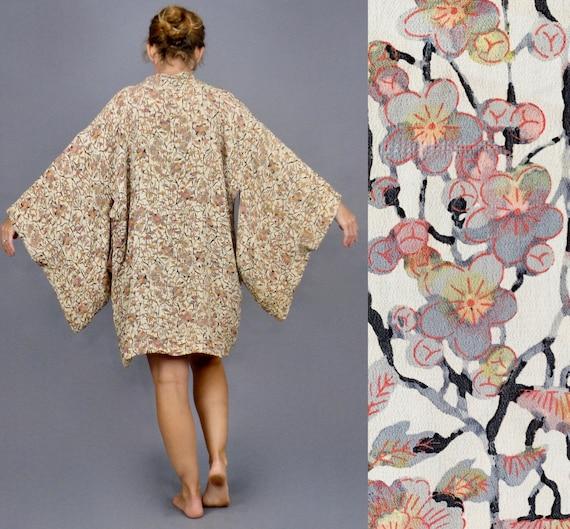 1930s Floral Silk Haori Jacket, Vintage 30s Japanese Jacket, 1930s Robe Boudoir Loungewear
