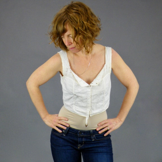 Antique Late 1910s 1920s Brassiere, Antique Whitework Embroidered Cotton Lingerie Top, 1910s 20s Camisole, 32 Bust 27 Waist