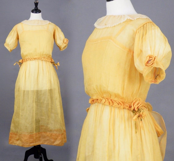 Antique 1910s 1920s Yellow Organdy Edwardian Day Dress with Petal Waistband and Flower Accents, Medium