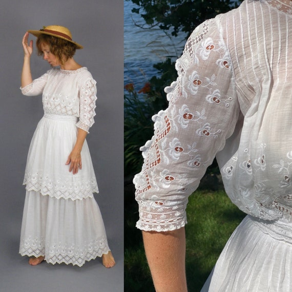 "Edwardian Dress, Antique 1900s 1910s Whitework Embroidered Tiered Cotton Dress, XS 23"" Waist"