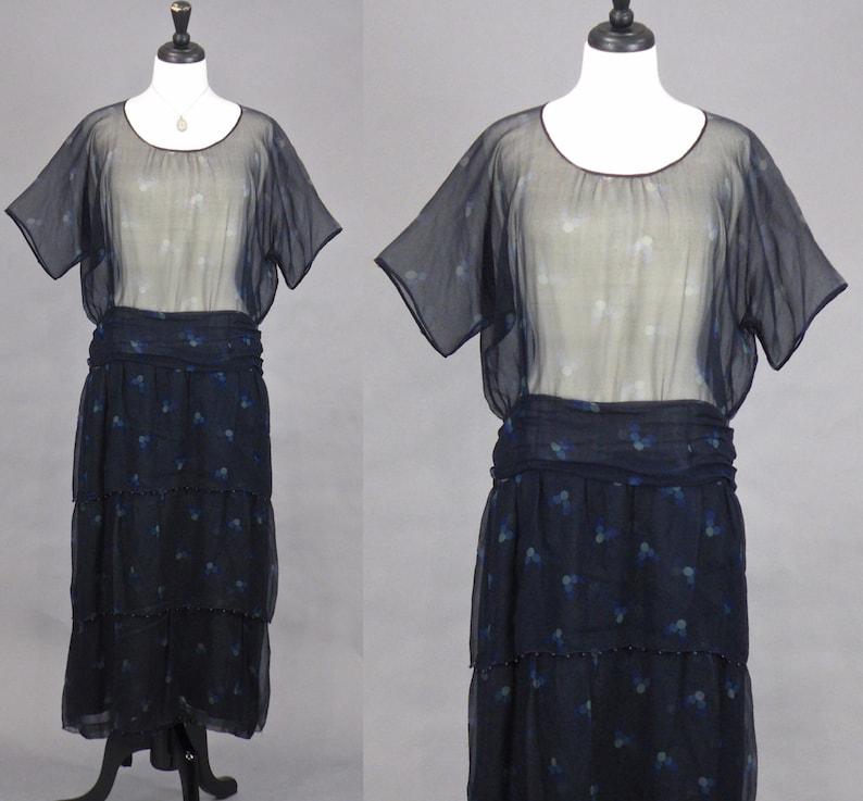 Vintage 1920s Printed Chiffon Dress 20s Dress Dark Blue image 0