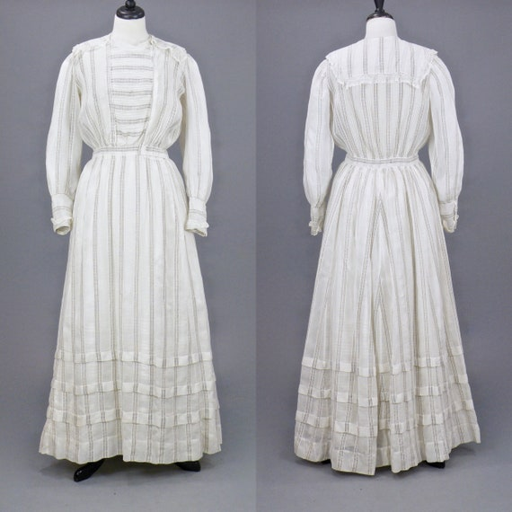 Edwardian Dress, 1900s White Dress, Lace Trim Stri