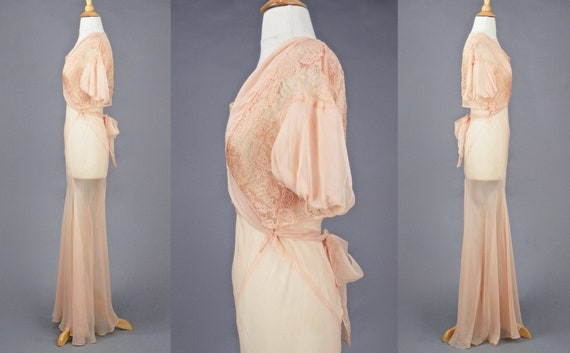 Vintage 1930s Blush Pink Bias Cut 30s Dress and W… - image 8