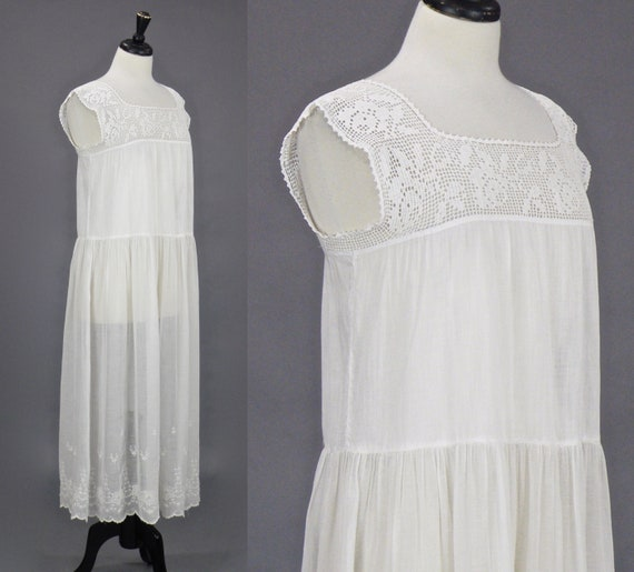Vintage 1910s 20s Dress, Antique Embroidered Whit… - image 5