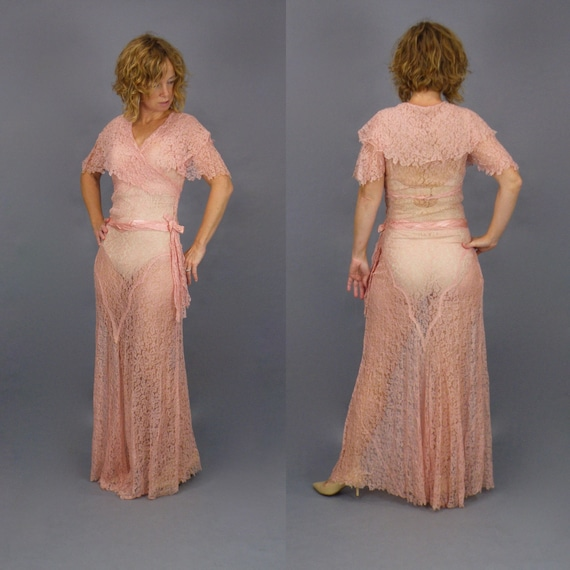 Vintage 1930s Pink Lace Bias Cut Evening Dress, 30s Angel Sleeve Gown, Old Hollywood Glamour, XS - S