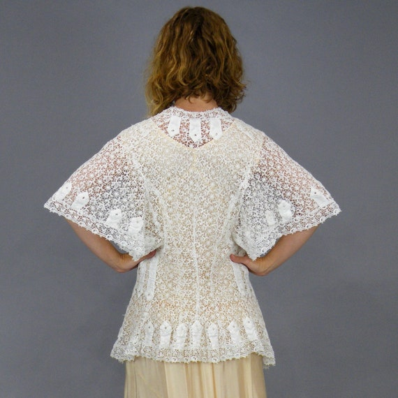 Edwardian Schiffli Lace Jacket, Antique 1900s Lace
