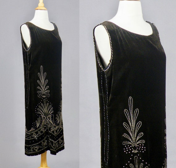 1920s Beaded Velvet Dress, Vintage 20s Dress, Roa… - image 6