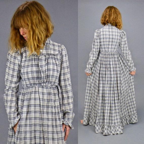 Victorian Edwardian Prairie Dress, Antique Plaid Pioneer Dress, Early 1900s Dress, XS - S 26 Waist