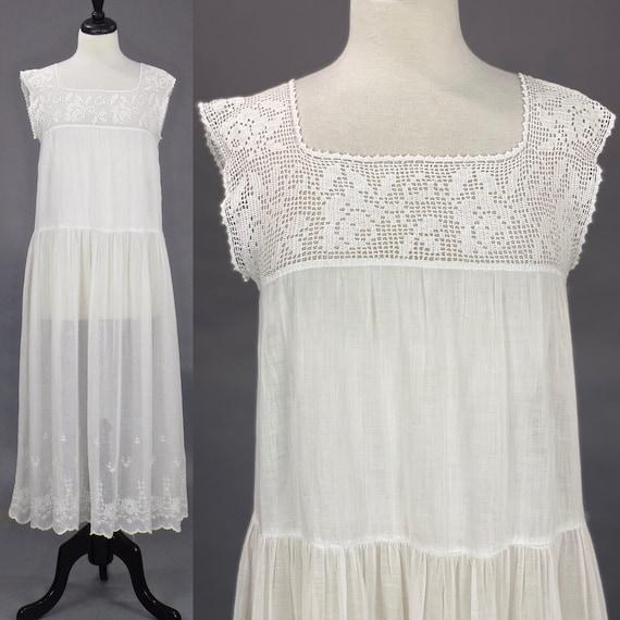 Vintage 1910s 20s Dress, Antique Embroidered White Cotton Crochet Slip Dress, Medium