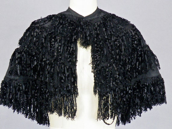 1890s Victorian Black Silk Fringe Mourning Cape, Historical Fashion