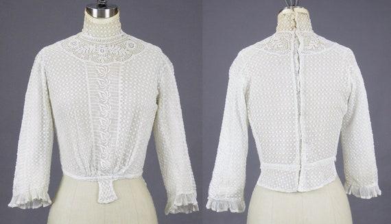 Edwardian Mixed Lace Blouse, 1900s Embroidered Ne… - image 3