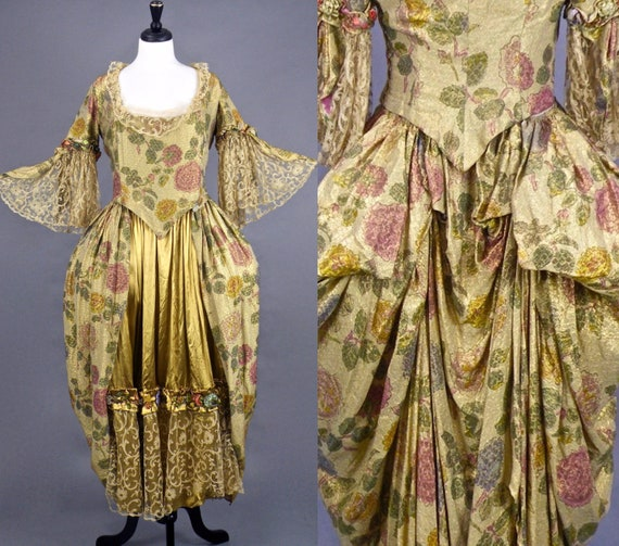 Rare Antique 1910s Floral Lamé & Liquid Gold Silk Rococo Style Gown with Silk Ribbon Flowers Lace Bell Sleeves, Historical Costuming, Thurn