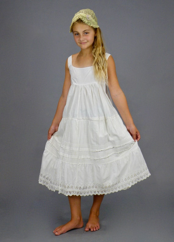 Antique 1900s 1910s Girls Embroidered White Cotton Eyelet Nightgown Slip Dress