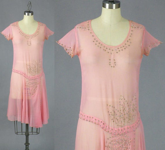 1920s Dress, 20s Dress, Pink Beaded 1920s Flapper Dress with Provenance, Gatsby Jazz Age Dress, XS