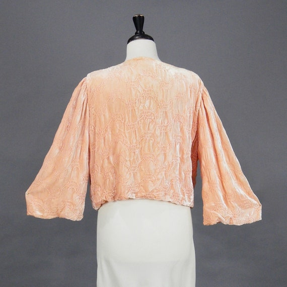 1930s Blushing Peach Silk Velvet Bed Jacket with Bell Sleeves, 30s Boudoir Lingerie Jacket, Art Deco Bolero