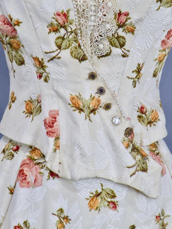 Rare Antique Victorian Floral Jacquard Duchesse S… - image 3