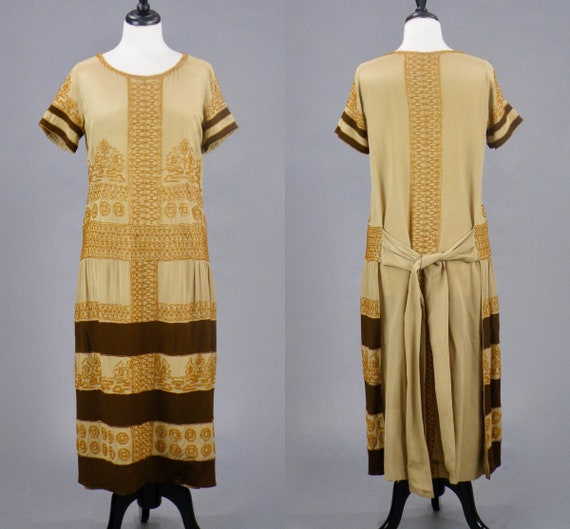 Antique 1920s Beaded Egyptian Revival Flapper Dress, Medium