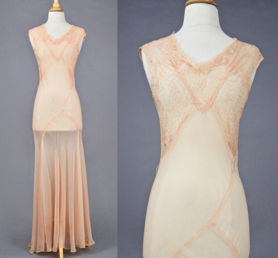 Vintage 1930s Blush Pink Bias Cut 30s Dress and W… - image 2