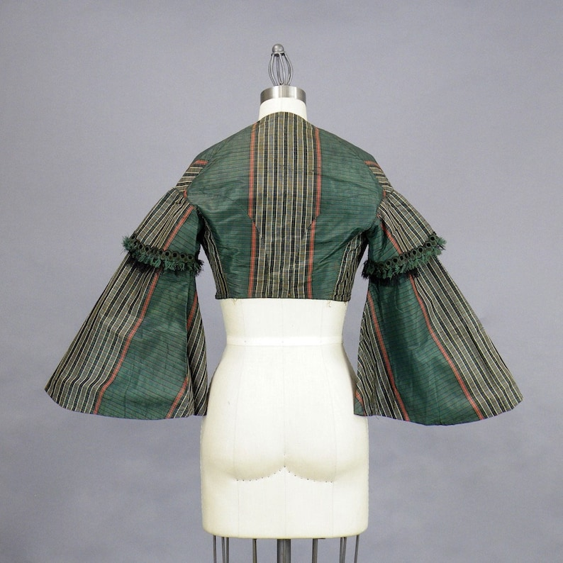 Antique 1850s 1860s Pagoda Sleeve Cropped Jacket with Silk image 0