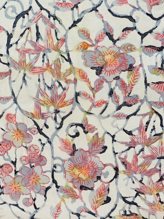 1930s Floral Silk Haori Jacket, Vintage 30s Japan… - image 7