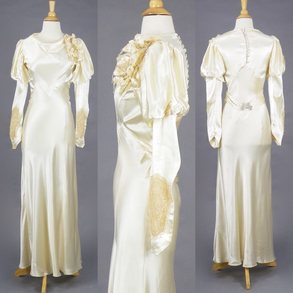 Vintage 1930s Wedding Dress, 30s Bias Cut Wedding