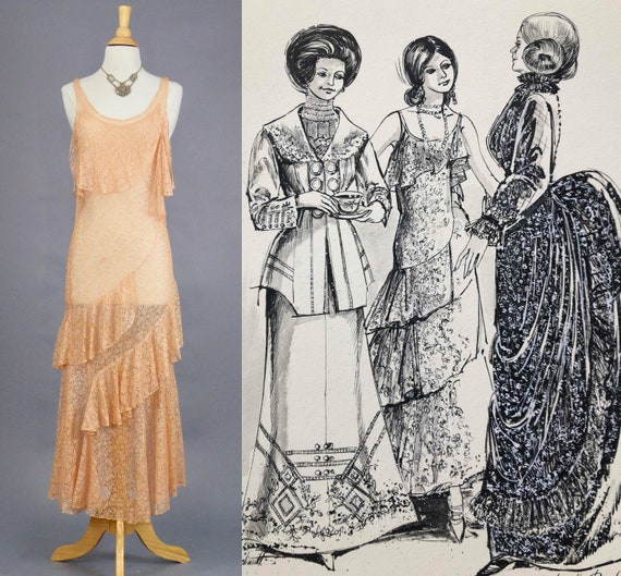 Vintage 1930s Dress, 30s Bias Cut Lace Evening Dress with Tiered Skirt and Rare Fashion Sketch, Blushing Peach 1930s Wedding Dress