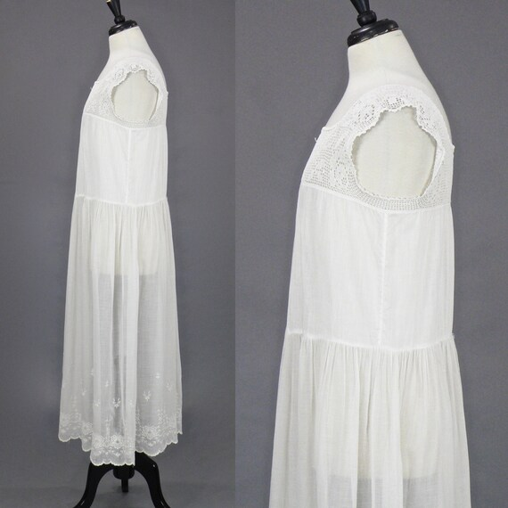 Vintage 1910s 20s Dress, Antique Embroidered Whit… - image 2