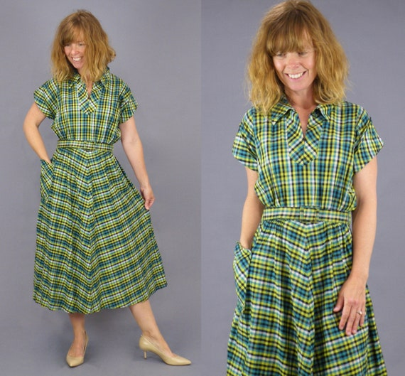 Vintage 1940s Green Cotton Check Day Dress, S/M - M