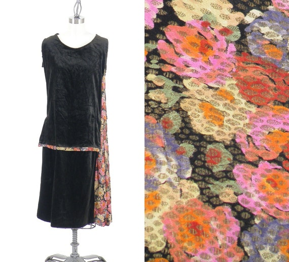 Vintage 1920s Dress, 20s Dress, 1920s Floral Lamé and Velvet Dress, Removable Sleeves, Small