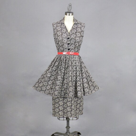 Vintage 50s Eyelet Peplum Dress, 1950s Cotton Daisy Print Gingham Dress