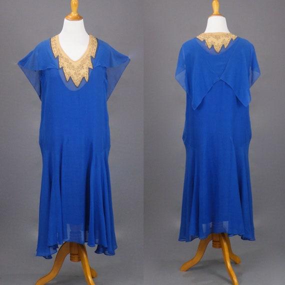Vintage 1920s Azure Blue Silk Georgette Cape Collar Flapper Dress with Metallic Bullion Embroidered Neckline, Large