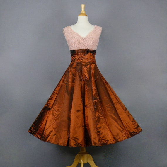 Vintage 1950s Pink & Copper Full Circle Skirt Party Dress, Amazing Emma Domb 50s Dress, XS