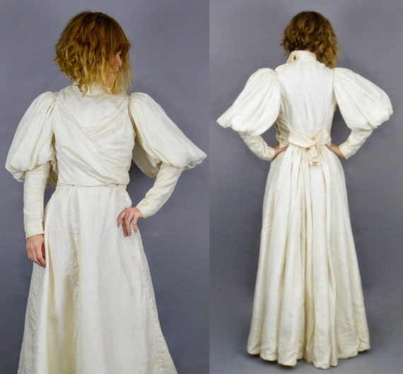 1890s Victorian Wedding Dress Set, Dramatic Leg of Mutton Sleeves, Ivory Cream Silk Antique Wedding Dress