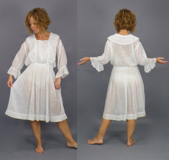 Antique 1910s White Dress, Edwardian Tatted Lace Trimmed Tea Length Lawn Dress