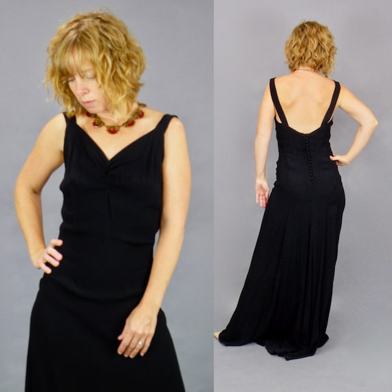 Vintage 1930s Bias Cut Gown, 30s Evening Dress, Black Crepe 1930s Old Hollywood Glamour Plunging Back Dress & Sheer Lace Jacket, Small