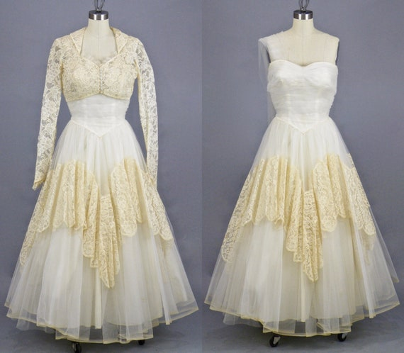 Vintage 1950s White Tulle Cream Lace Tea Length Wedding Dress & Bolero Jacket, XS - S