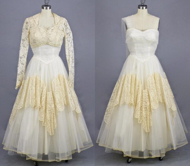 Vintage 1950s Tulle and Lace Wedding Dress & Bolero Jacket image 0