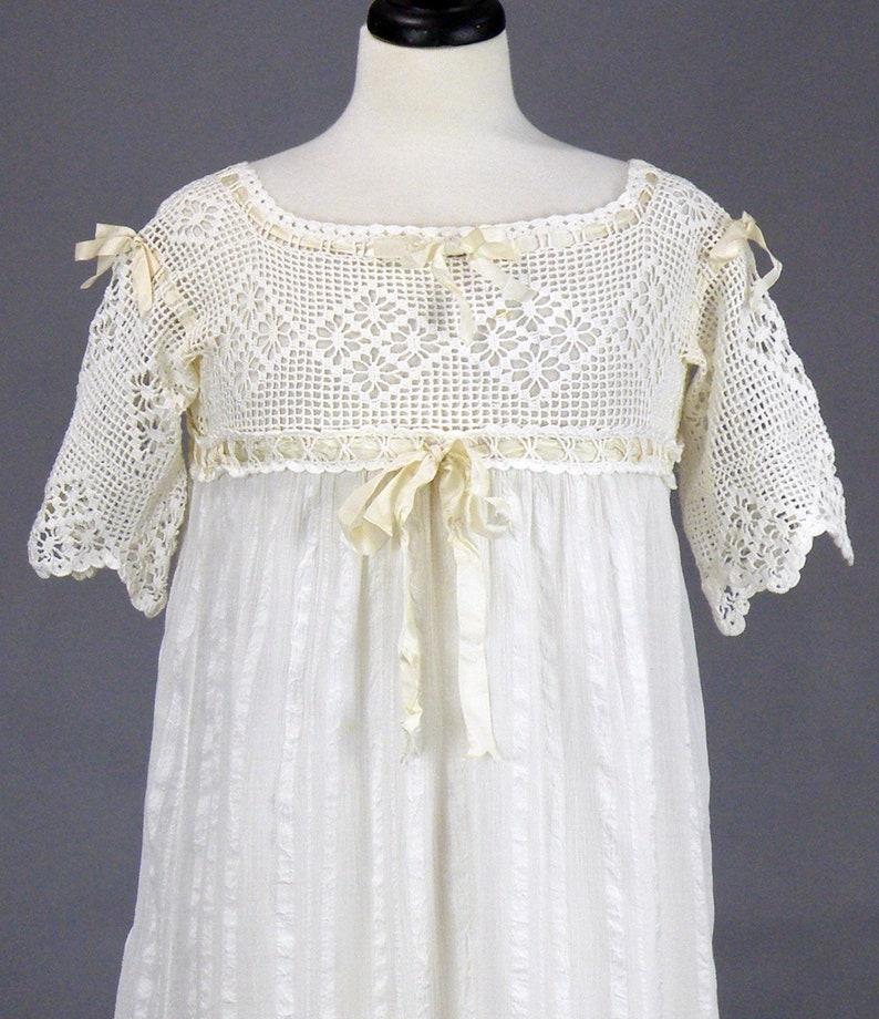 Edwardian Nightgown Antique 1910s White Cotton Crochet Lace image 0