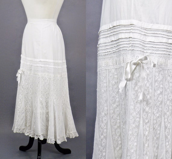 Antique Lace Petticoat, 1900s 1910s White Cotton Lace Edwardian Skirt, White Prairie Skirt