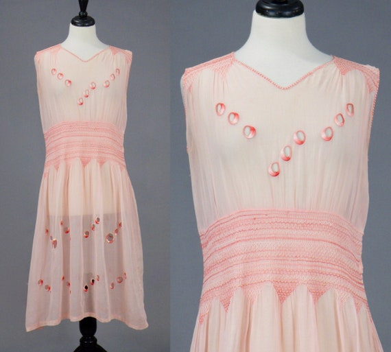 1920s Dress, Smocked 20s Pink Embroidered Cotton Voile Peasant Dress, S-M / M