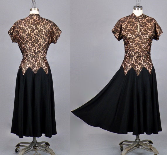 Vintage 1940s Swing Dress, 40s Dress, Black Silk and Lace Illusion Cocktail Party Dress, Small - Medium 36 Bust