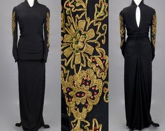 Vintage 1940s Gold Soutache Embellished Black Rayon Crepe Evening Dress, 40s Gown, Femme Fatale Old Hollywood Starlet, 38 Bust 28 Waist