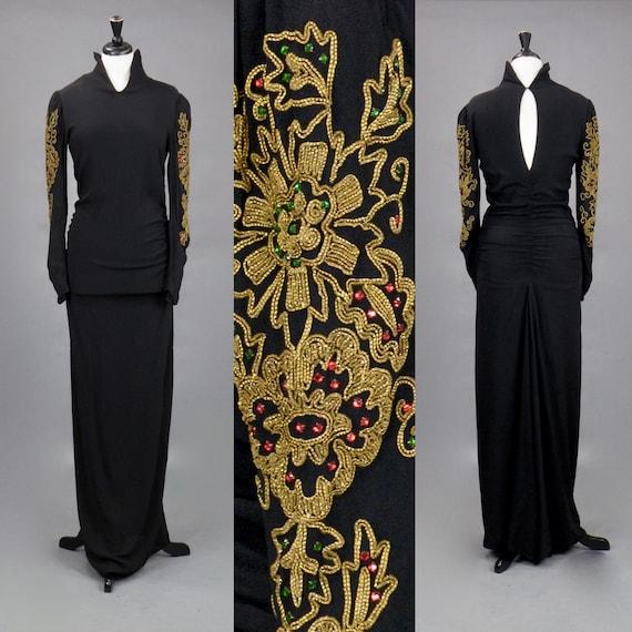Vintage 1940s Gold Soutache Embellished Black Rayon Crepe Evening Dress, Old Hollywood Vamp, 38 Bust 28 Waist