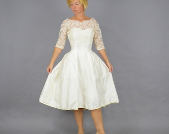 1950s Prom Dress, Rockabilly Wedding Dress, Vintage 50s Tea Length Wedding Dress, Illusion Lace Dress, Sweetheart Neckline, Full Skirt XS