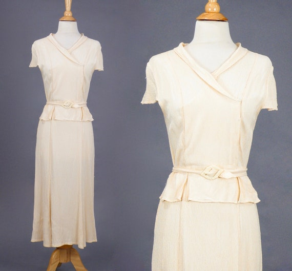 1930s Day Dress, Vintage 30s Crepe Dress, Pale Peach Split Peplum Dress with Cap Sleeves & Belted Waist