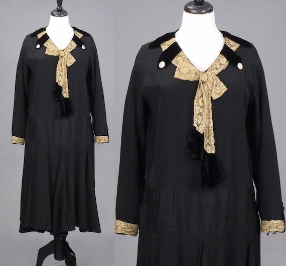 Vintage 1920s Black Rayon Velvet and Lace Drop Waist Dress with Flared Skirt, Le Vine M - L