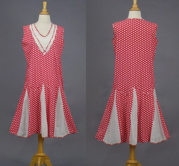 Vintage 1920's Red White Cotton Polka Dot Day Dress with Godets, S - M