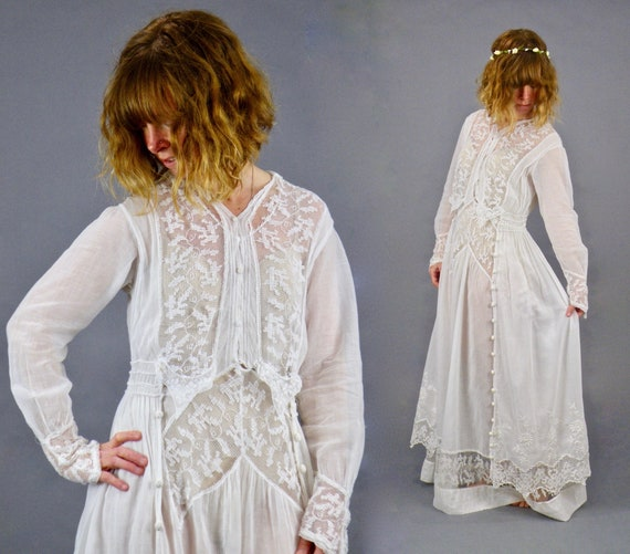 Antique 1910s Edwardian Embroidered White Cotton Net and Filet Lace Lawn Dress, S/M