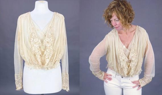 1900s Edwardian Embroidered Net Lace Blouse, Crea… - image 7